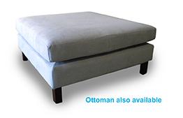 Burliegh square ottoman in blur warwick fabric
