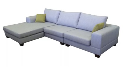 Caloundra 3 seater with chaise in blue warwick fabric