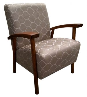 Isa Australian made armchair with timber arms in patterned fabric