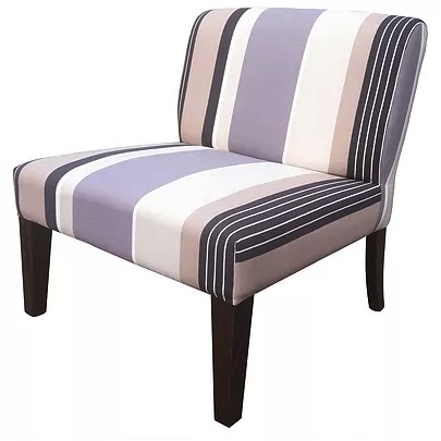 Hibiscus Occasional Chair in striped fabric